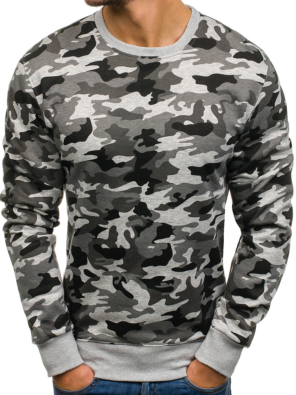 Hommes Camouflage Sweatshirt Pull Chemise Manches Longues Pull Camo BOLF 1a1 Motif