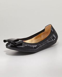 9c0cc799d17 KATE SPADE NEW YORK  250 BLACK PATENT LEATHER FELICE BOW BALLERINA ...