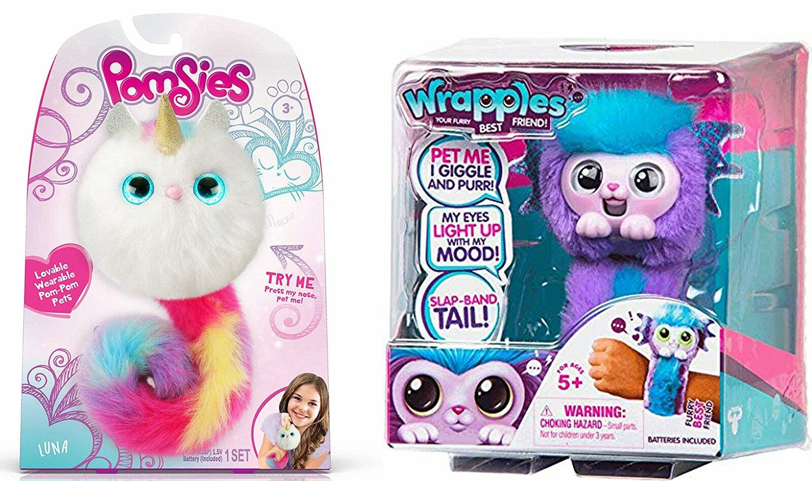 Pomsies Luna Exclusive Plush Interactive Toys & Wrapples Shora Combo