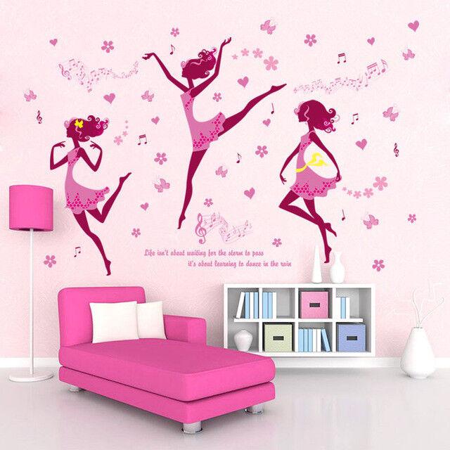 cartoon dance girl wall stickers for kids rooms nursery baby bedroom