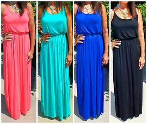L.A.BOHO SUMMER HIPPIE CHIC SOLID CASUAL MAXI DRESS W/ADJUSTABLE ...