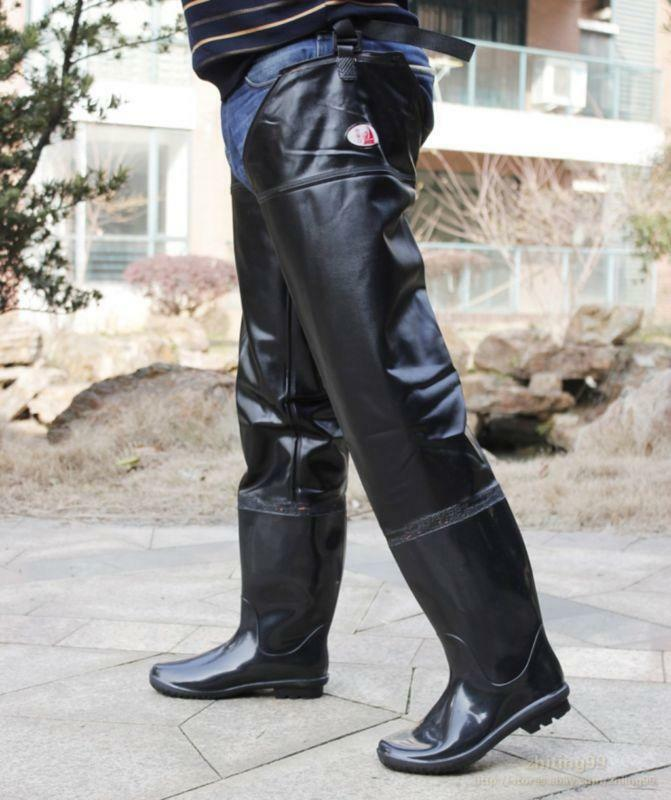 Stylish Mens Waterproof Thigh High Rain Boots anti-skid Pull On Over Knee Boots