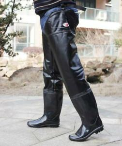 f775538c1ef Mens Thigh High Rain Boots Waterproof Pull On Over Knee Boots Black ...