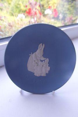 Wedgwood Peter Rabbit Plate Blue Jasperware 11 cm Dia Rare