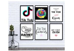 TikTok, Tik Tok Wall Art, Teen Room Decor, Tik Tok Famous, Tok Tok Queen, Home d
