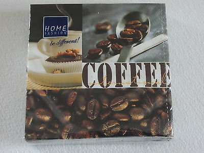1 Packung 20 Servietten COFFEE SPIRIT Kaffee 1/4 cafe bohnen tasse löffel