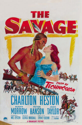 Poster for The Savage, starring Charlton Heston, based on a L.L. Foreman story,  The Renegade