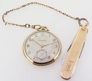 Rare-1937-Hamilton-923-10s-23J-18K-Gold-OF-Pocket-Watch-3600-Made-Addressograph