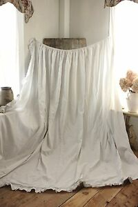 Gray-grey-white-Antique-French-curtain-c-1820-GORGEOUS-large-bed-drape