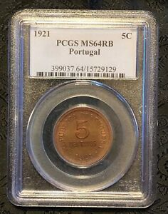 PCGS-MS64RB-1921-Portugal-5-Centavos