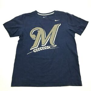 Nike Milwaukee Brewers Shirt Mens Size Medium Blue Short Sleeve MLB Baseball Tee
