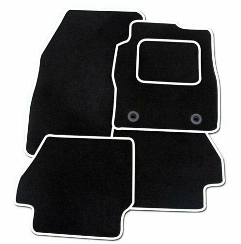 VAUXHALL CORSA D 2007-2014 TAILORED BLACK CAR MATS WITH WHITE TRIM