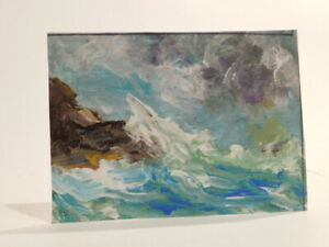 ACEO-Seascape-Stormy-Victorian-Original-Acrylic-by-Robert-Riddle-2-5-X-3-5-Inch