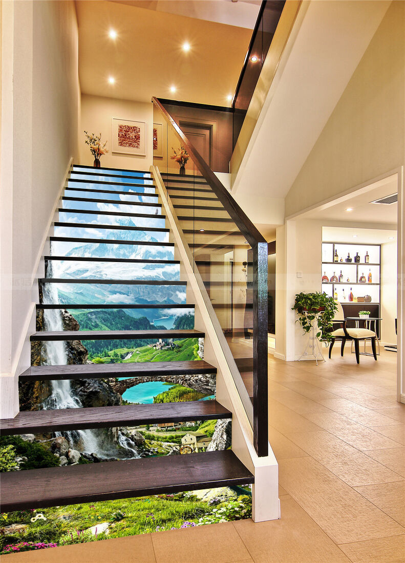 3D Village Scenery Stair Risers Decoration Photo Mural Vinyl Decal Wallpaper AU