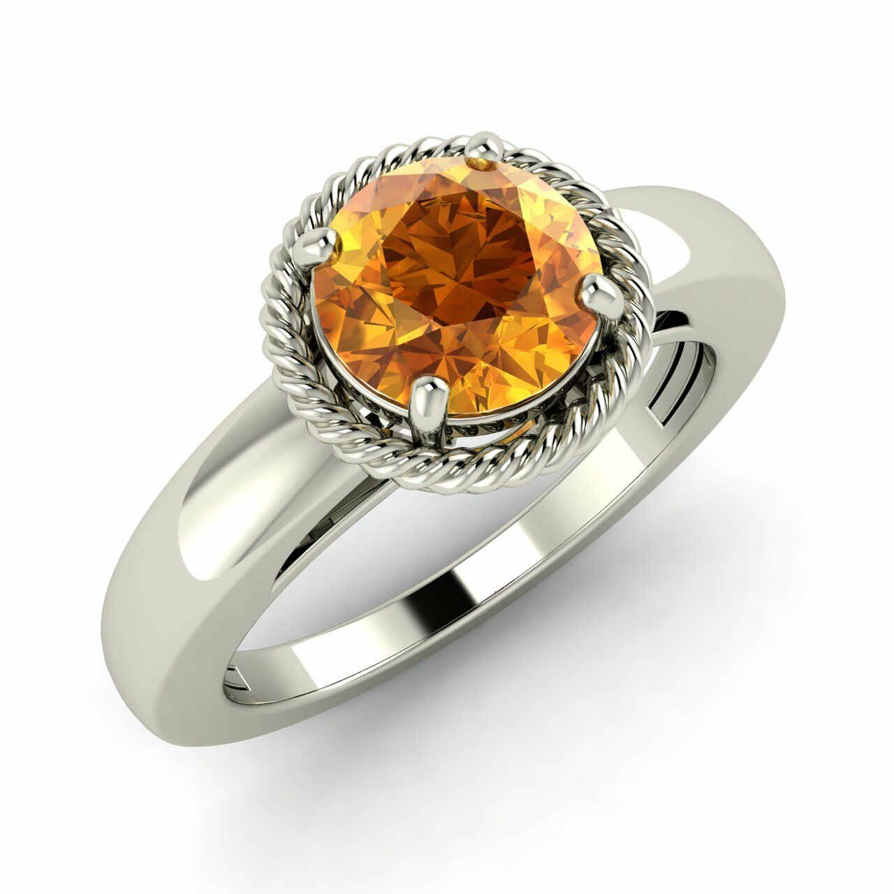 Certified 0.97 Cts Real Citrine 14K White gold Twisted Design Solitaire Ring