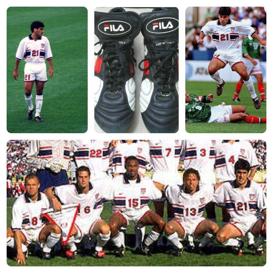Fila Vintage Usmnt 1995 Claudio Reyna SG Botines De Fútbol Zapatos EE. UU. 9.5