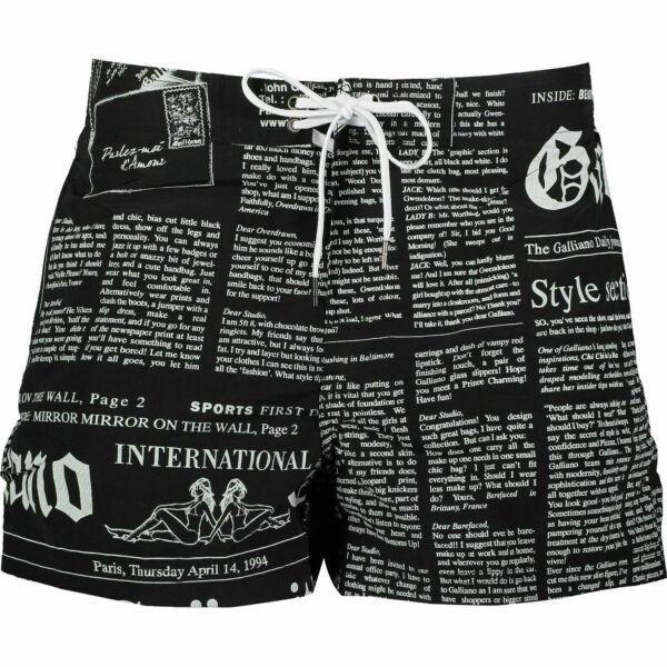 """39% Di Sconto John Galliano """"gazette"""" Stampa Nero Designer Pantaloncini Nuoto S It46 Il Prezzo Rimane Stabile"""