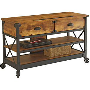 Industrial Sofa Table With Wheels Rustic Console 2 Drawers Modern