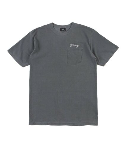 Men/'s Shirt Stussy STITCH PIGMENT DYED TEE Black Faded Aesthetic S//S D