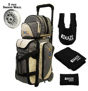 KAZE-2-3-Ball-Bowling-Roller-Bag-Smooth-PU-Wheel-Add-On-Spare-Tote-Seesaw-Towel