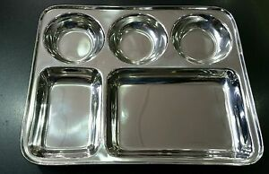 5 Compartment Stainless Steel Round Thali Dish Traditional Indian Plate Dish