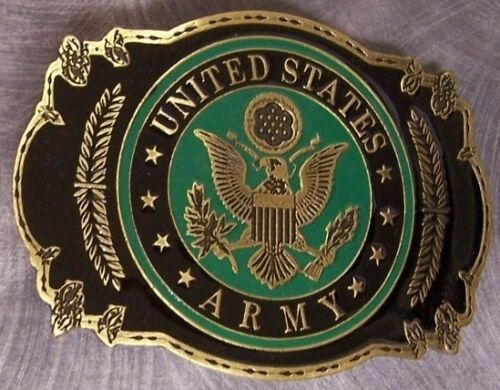 Military Belt Buckle Pewter U S Army emblem NEW MADE IN THE U.S.A.