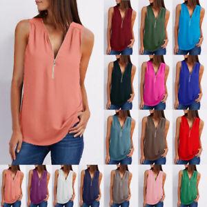 Summer Women V Neck Shirt Casual Solid Blouse Loose Zipper Tunic Beach Tank Top