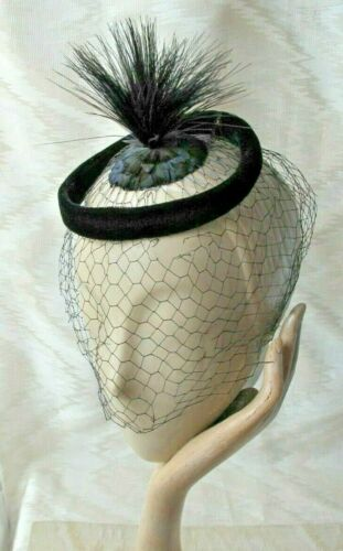 FEATHER AND VELVET  BLACK 'PERCH' HAT -  Veiled, 1