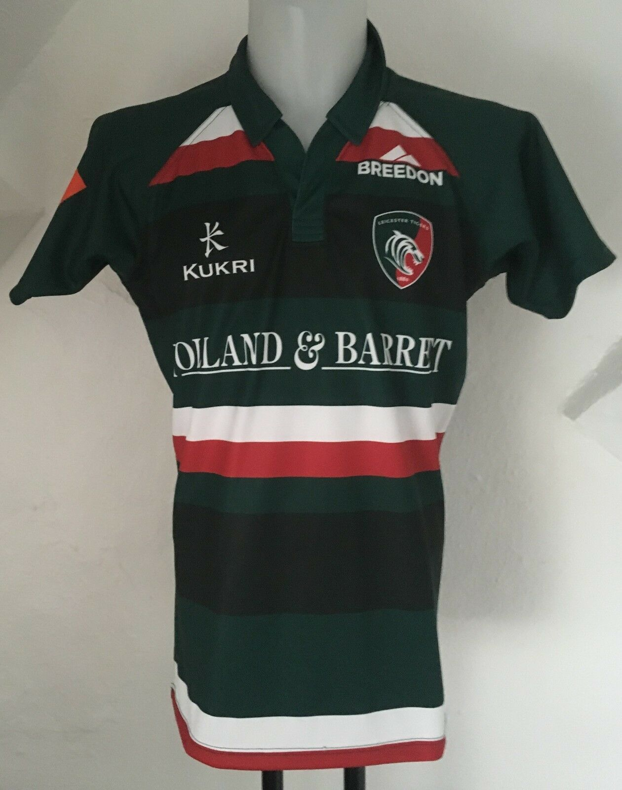 LEICESTER TIGERS 2017 18 HOME PLAYERS JERSEY BY KUKRI SIZE MEN'S MEDIUM NEW
