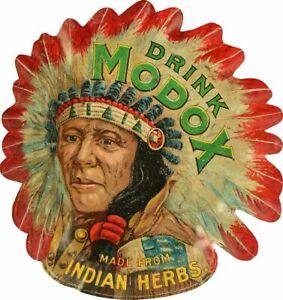 DRINK-MODOX-SODA-POP-INDIAN-CHIEF-15-034-HEAVY-DUTY-USA-MADE-METAL-ADVERTISING-SIGN