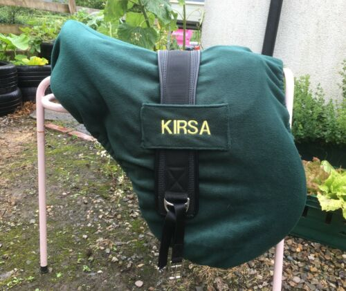 BOTTLE GREEN Personalised Embroidered SADDLE COVER With GIRTH HOLDER LOOPS