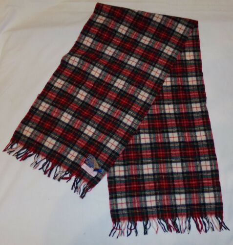 "Pendleton Authentic Stewart Dress Tartan Plaid Scarf Long 48 12"" x 12"" Red"
