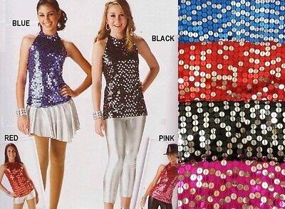 Black Adult Sequin Zip Up Halter Top Dance Costume
