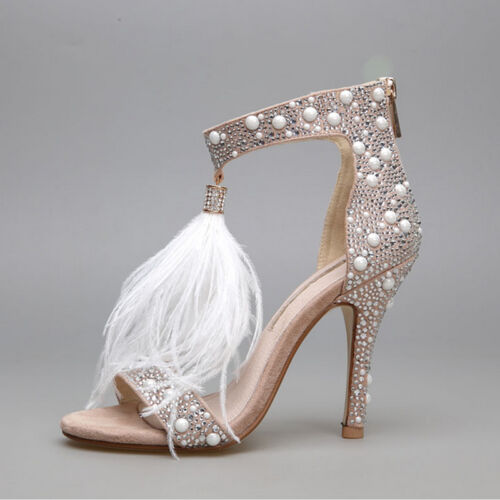 Women Leather High Heel Sandals Rhinestone Feather Thin High Heel party Shoes