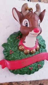 VINTAGE-1989-RUDOLPH-50TH-ANNIVERSARY-CHRISTMAS-ORNAMENT-PORCELAIN-APLAUSE