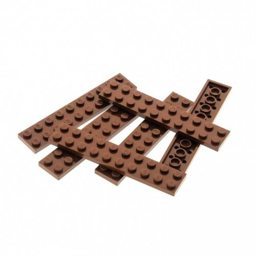 6 x Lego System Leiste Basic Bau Platte 2x10 Stein reddish rot braun Set Star Wa