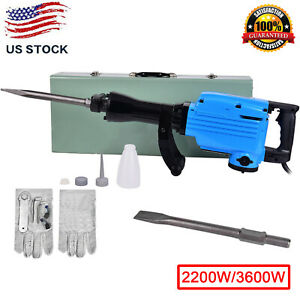 2200W-3600W-Jack-Hammer-Electric-Concrete-Demolition-Breaker-Punch-2Chisel-Bit