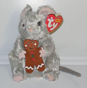 Ty STIRRING the Christmas MOUSE w GINGERBREAD MAN COOKIE Beanie Baby plush toy