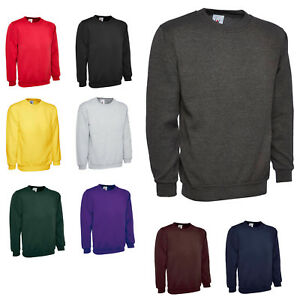 Childrens Classic Sweatshirt Casual Round Neck Plain Sports Sweat Top Jumper LOT