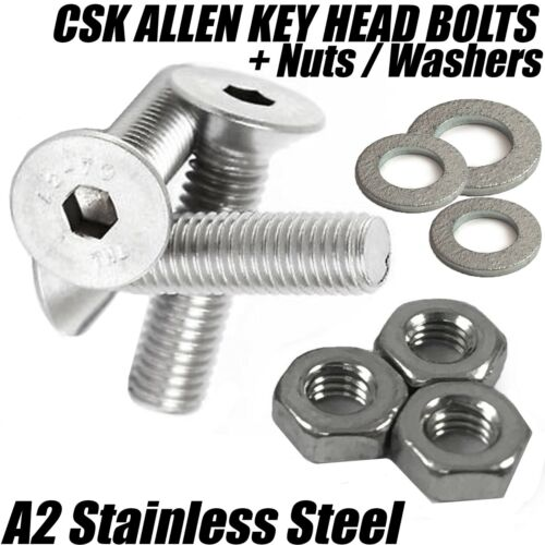 M3 A2 STAINLESS STEEL COUNTERSUNK SCREWS SOCKET BOLTS W// Full Hex Nuts Washers