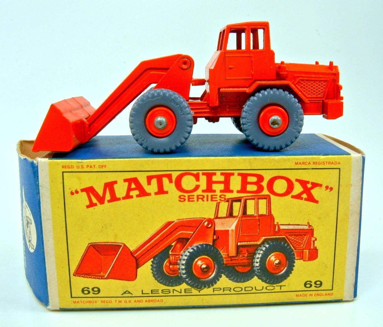 MATCHBOX RW 69b Hatra TRACTOR SHOVEL ARANCIONE Pneumatici grigia in  e  BOX