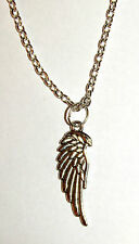 DETAILED SILVER ANGEL WING ANGELS PENDANT NECKLACE