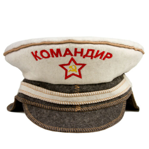 Russian Banya Wool Hat Cap w// Star Hammer Sickle Commander In Chief Sauna Hat