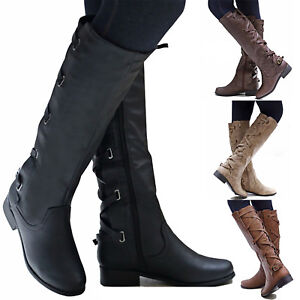 Women-Leather-Flat-Heel-Back-Lace-Up-Round-Toe-Zipper-Boot-High-Knee-Shoes-US