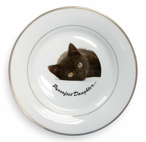 PD-185PL Black Kitten /'Purrrfect Daughter/' Gold Rim Plate in Gift Box Christmas