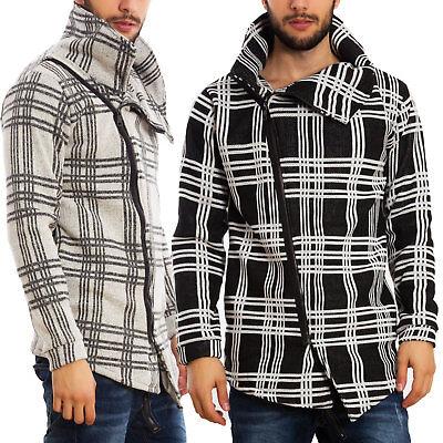 Maglione uomo cardigan asimmetrico scollo morbido giacca zip sbieco quadri A8121 | eBay