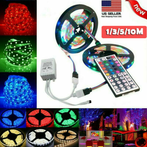 3.3~32FT Flexible 3528 RGB LED SMD Strip Light Remote Fairy Lights Room TV Party