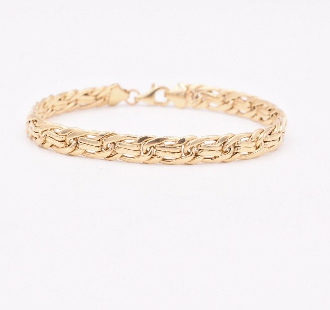 6.5mm All Shiny Classic Byzantine Curb Bracelet Real 10K Yellow gold