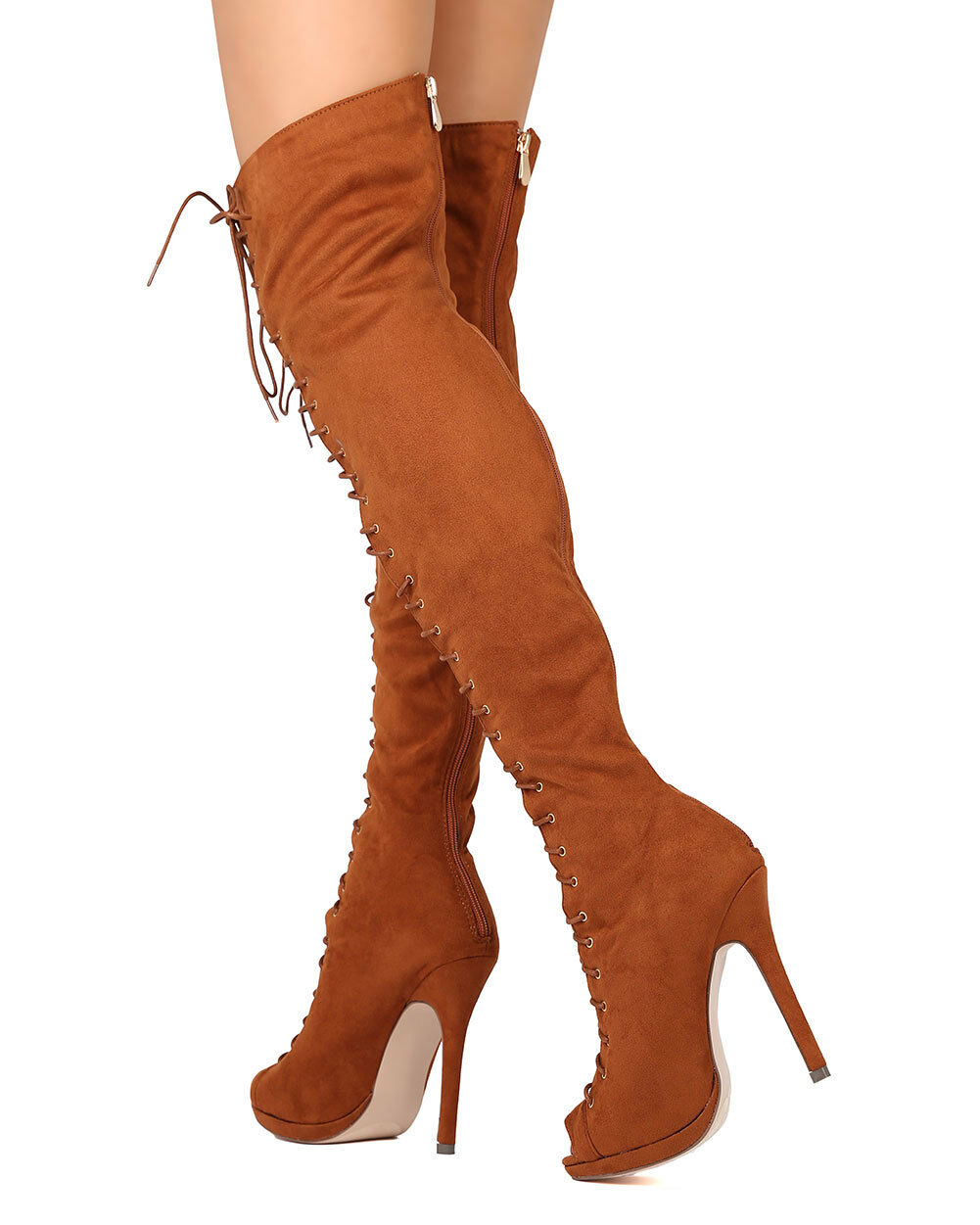 New Women Liliana Opus-1A Faux Suede Thigh High Peep Toe Lace Up Stiletto Boot