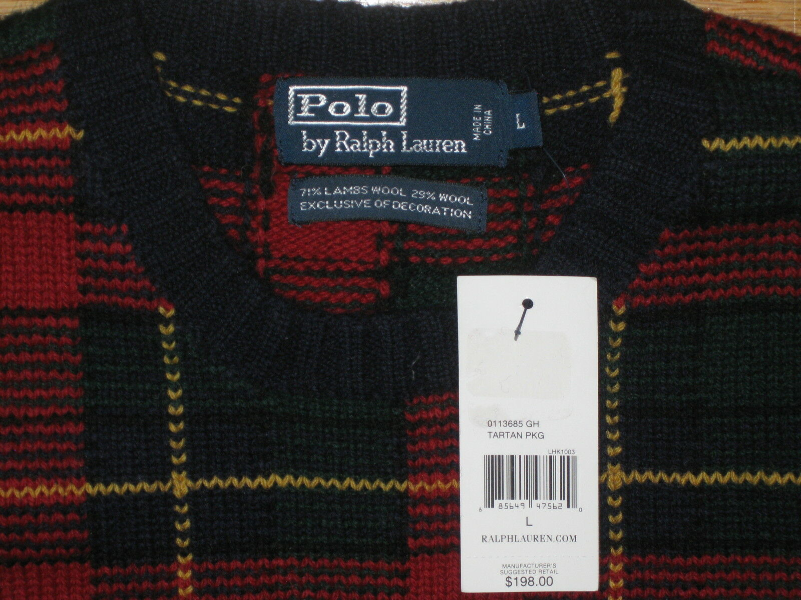 Ralph Lauren Polo Tartan Christmas Holiday Plaid Size Sweater - Size Plaid Large 2f3d1e